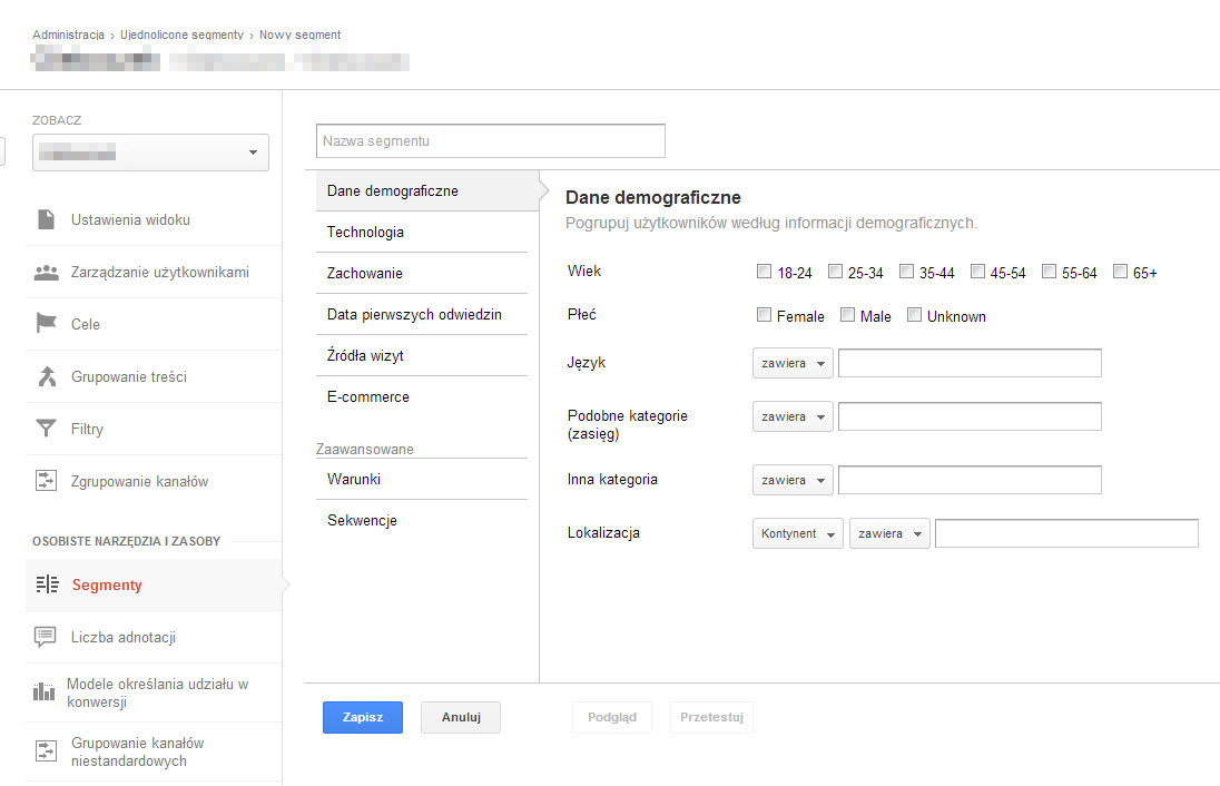 Segmentacja użytkowników w Google Analytics