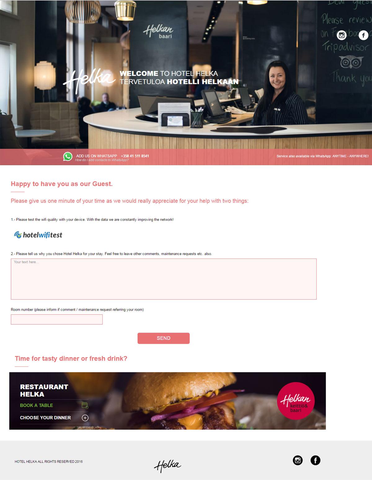 Hotel Helka - Ekran powitalny WiFi