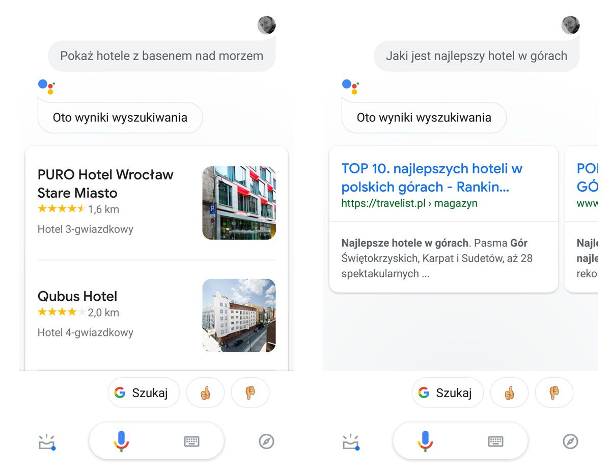 Asystent Google Hotele