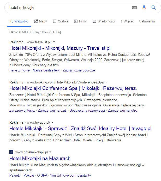 Hotel w Google